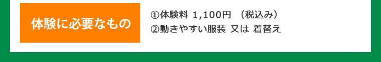 ①体験料 1,080円 (税込み) ②動きやすい服装 又は 着替え