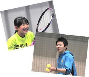 テニススクールのレッスン風景