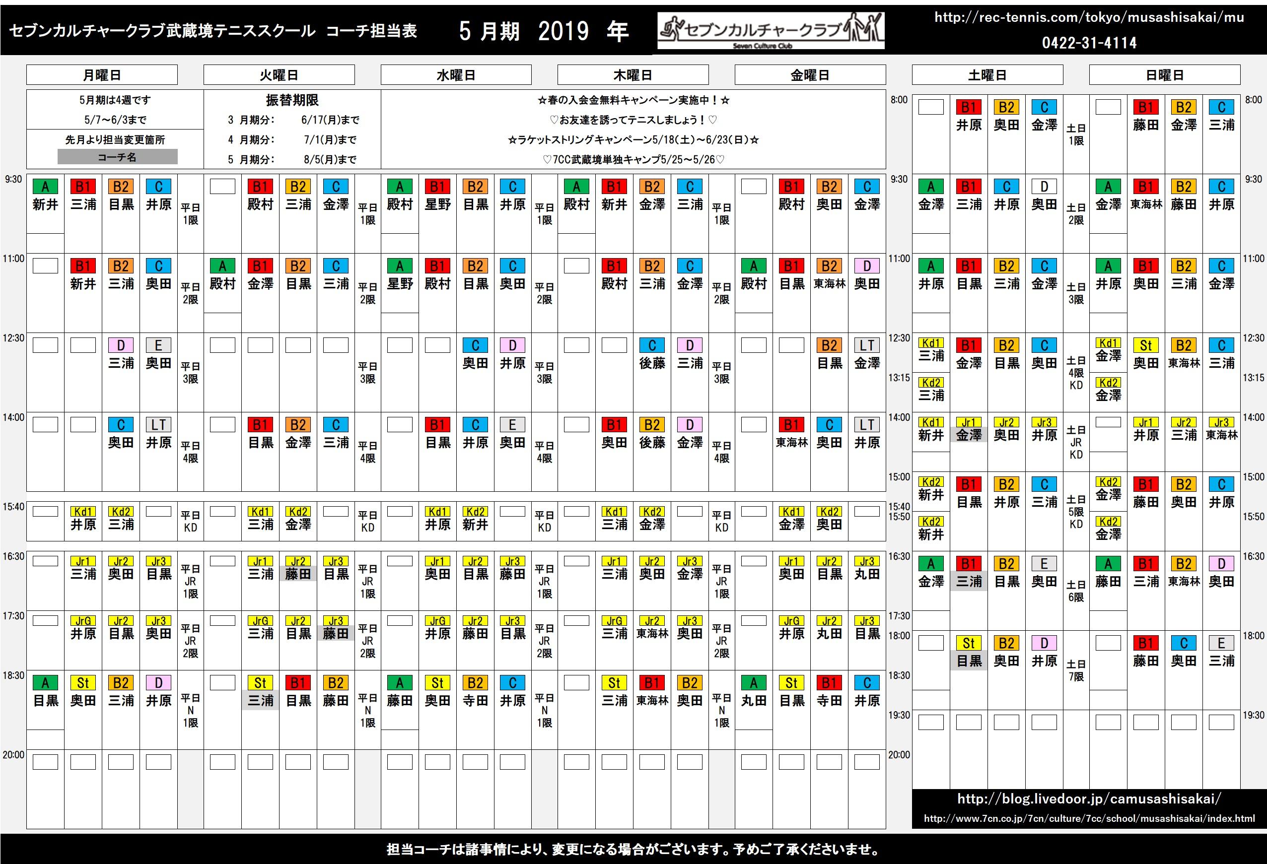 コーチ担当表5月(色つき)
