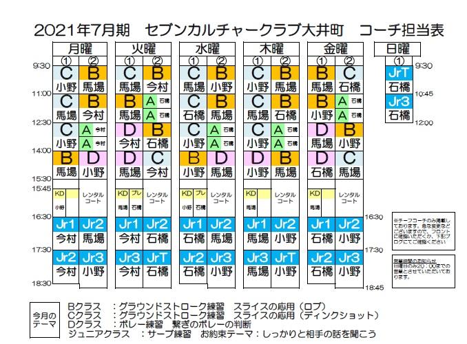 大井町7月期担当表
